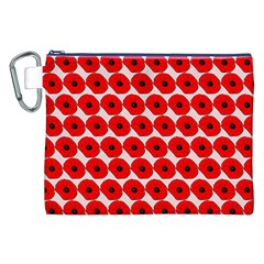 Red Peony Flower Pattern Canvas Cosmetic Bag (xxl)