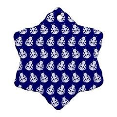 Ladybug Vector Geometric Tile Pattern Snowflake Ornament (2 Side) by creativemom