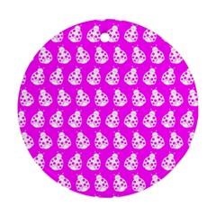 Ladybug Vector Geometric Tile Pattern Round Ornament (two Sides)  by creativemom