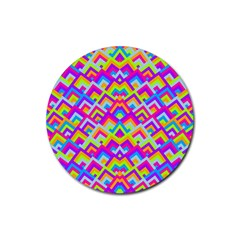 Colorful Trendy Chic Modern Chevron Pattern Rubber Coaster (round)  by creativemom