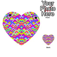 Colorful Trendy Chic Modern Chevron Pattern Playing Cards 54 (heart)