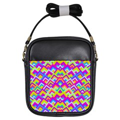 Colorful Trendy Chic Modern Chevron Pattern Girls Sling Bags by creativemom