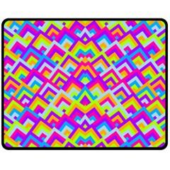 Colorful Trendy Chic Modern Chevron Pattern Fleece Blanket (medium)  by creativemom