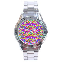Colorful Trendy Chic Modern Chevron Pattern Stainless Steel Men s Watch by creativemom