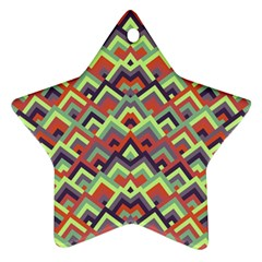 Trendy Chic Modern Chevron Pattern Ornament (star)  by creativemom
