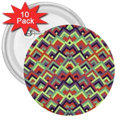 Trendy Chic Modern Chevron Pattern 3  Buttons (10 Pack)  by creativemom