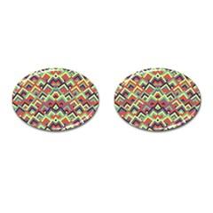 Trendy Chic Modern Chevron Pattern Cufflinks (Oval) by creativemom