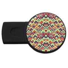 Trendy Chic Modern Chevron Pattern Usb Flash Drive Round (2 Gb)  by creativemom