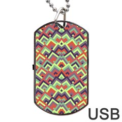 Trendy Chic Modern Chevron Pattern Dog Tag Usb Flash (two Sides)  by creativemom