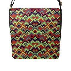 Trendy Chic Modern Chevron Pattern Flap Messenger Bag (l)  by creativemom
