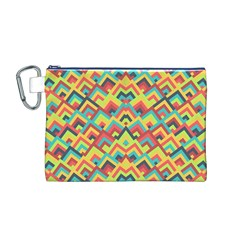 Trendy Chic Modern Chevron Pattern Canvas Cosmetic Bag (m) by creativemom