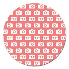 Modern Chic Vector Camera Illustration Pattern Magnet 5  (round) by creativemom