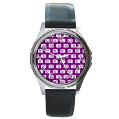 Modern Chic Vector Camera Illustration Pattern Round Metal Watches by creativemom