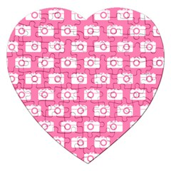 Pink Modern Chic Vector Camera Illustration Pattern Jigsaw Puzzle (heart) by creativemom