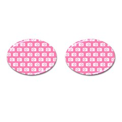 Pink Modern Chic Vector Camera Illustration Pattern Cufflinks (oval) by creativemom