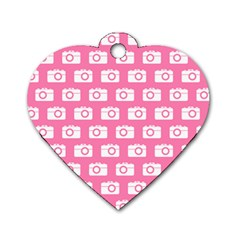 Pink Modern Chic Vector Camera Illustration Pattern Dog Tag Heart (one Side) by creativemom