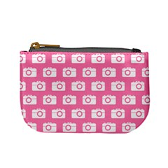 Pink Modern Chic Vector Camera Illustration Pattern Mini Coin Purses