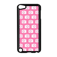 Pink Modern Chic Vector Camera Illustration Pattern Apple Ipod Touch 5 Case (black) by creativemom