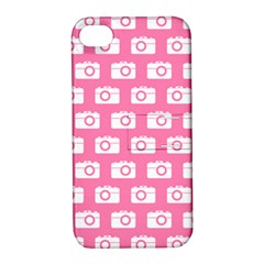 Pink Modern Chic Vector Camera Illustration Pattern Apple Iphone 4/4s Hardshell Case With Stand by creativemom