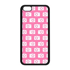 Pink Modern Chic Vector Camera Illustration Pattern Apple Iphone 5c Seamless Case (black) by creativemom