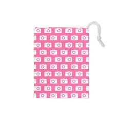 Pink Modern Chic Vector Camera Illustration Pattern Drawstring Pouches (small)  by creativemom