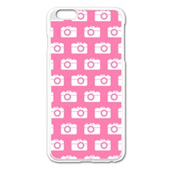 Pink Modern Chic Vector Camera Illustration Pattern Apple Iphone 6 Plus Enamel White Case by creativemom