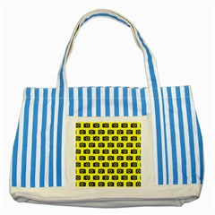 Modern Chic Vector Camera Illustration Pattern Striped Blue Tote Bag  by creativemom