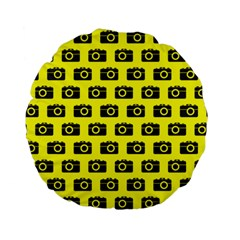 Modern Chic Vector Camera Illustration Pattern Standard 15  Premium Flano Round Cushions