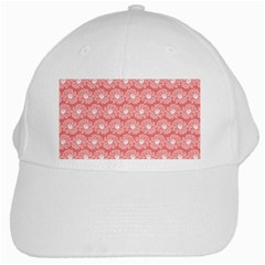 Coral Pink Gerbera Daisy Vector Tile Pattern White Cap by creativemom