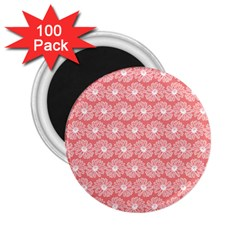 Coral Pink Gerbera Daisy Vector Tile Pattern 2 25  Magnets (100 Pack)  by creativemom