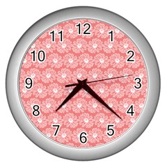 Coral Pink Gerbera Daisy Vector Tile Pattern Wall Clocks (silver)  by creativemom