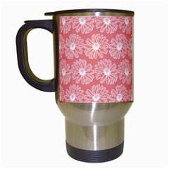 Coral Pink Gerbera Daisy Vector Tile Pattern Travel Mugs (white) by creativemom