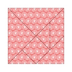 Coral Pink Gerbera Daisy Vector Tile Pattern Acrylic Tangram Puzzle (6  X 6 ) by creativemom