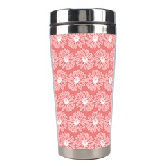 Coral Pink Gerbera Daisy Vector Tile Pattern Stainless Steel Travel Tumblers by creativemom