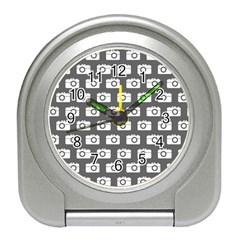 Modern Chic Vector Camera Illustration Pattern Travel Alarm Clocks by creativemom