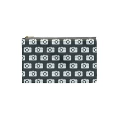 Modern Chic Vector Camera Illustration Pattern Cosmetic Bag (small)  by creativemom