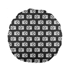 Modern Chic Vector Camera Illustration Pattern Standard 15  Premium Flano Round Cushions by creativemom