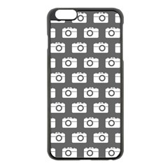 Modern Chic Vector Camera Illustration Pattern Apple Iphone 6 Plus Black Enamel Case by creativemom