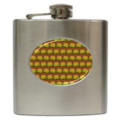 Burger Snadwich Food Tile Pattern Hip Flask (6 oz) by creativemom