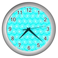 Gerbera Daisy Vector Tile Pattern Wall Clocks (silver)  by creativemom