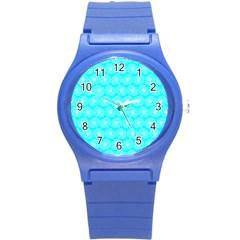 Gerbera Daisy Vector Tile Pattern Round Plastic Sport Watch (s) by creativemom