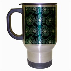Gerbera Daisy Vector Tile Pattern Travel Mug (silver Gray) by creativemom