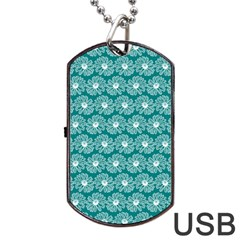 Gerbera Daisy Vector Tile Pattern Dog Tag Usb Flash (two Sides)  by creativemom