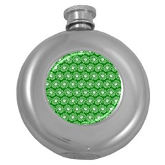 Gerbera Daisy Vector Tile Pattern Round Hip Flask (5 Oz) by creativemom