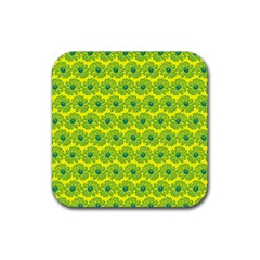 Gerbera Daisy Vector Tile Pattern Rubber Square Coaster (4 Pack)  by creativemom