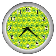 Gerbera Daisy Vector Tile Pattern Wall Clocks (silver)  by creativemom