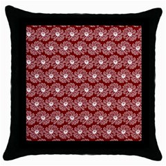 Gerbera Daisy Vector Tile Pattern Throw Pillow Cases (black) by creativemom