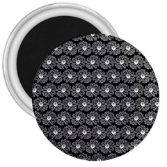 Black And White Gerbera Daisy Vector Tile Pattern 3  Magnets by creativemom