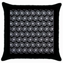 Black And White Gerbera Daisy Vector Tile Pattern Throw Pillow Cases (black) by creativemom