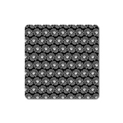 Black And White Gerbera Daisy Vector Tile Pattern Square Magnet by creativemom